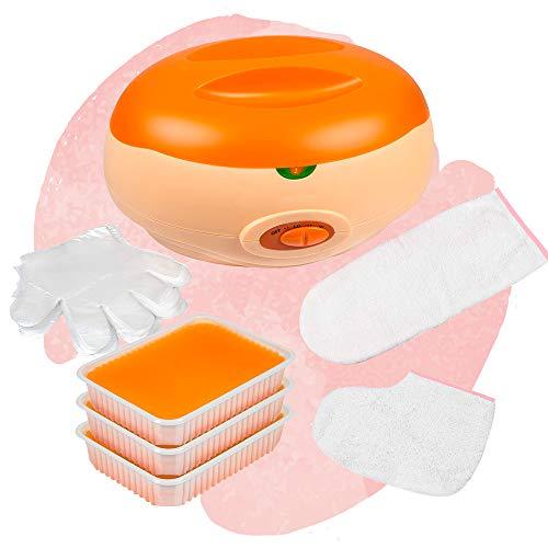 Premium-Set - Paraffinbad Für Hände Und Füße + Zubehör + Paraffinwachs Orange (3 x 400g)