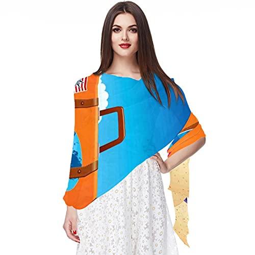 WJJSXKA Bufandas de gasa chal bufandas envolventes para mujer para primavera verano, ilustración de...