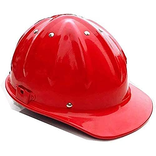 DDCHH Casco de Seguridad de Aluminio - Casco Protector Ventilado para Obra, Casco de Aluminio Casco de Seguridad Industrial, Resistencia a Impactos de Alta Resistencia 30x28x14cm,Red