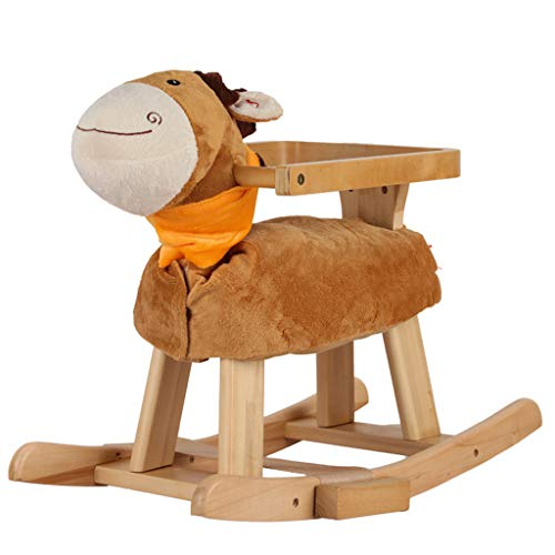 LALAWO Children's leisure chair Rocking Horse Children's Wooden Horse With Guardrail Solid Wood Music Rocking Horse Baby Toy Rocking Chair Baby Birthday Gift 62 * 35 * 50cm