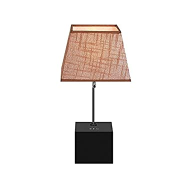 WAYKING Table Lamp, Black Wooden Base Bedside Lamp with Brown Shade, Built-in 5V/3A Three USB Charging Ports