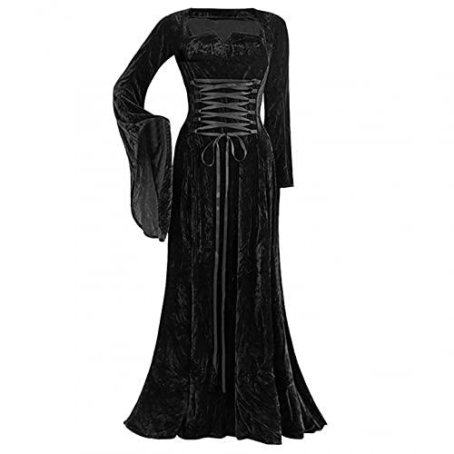 BIBOKAOKE Frauen Trompetenärmel Prinzessin Renaissance Bodenlanges Kleid Gothic Kleid Damen Samt Kleider Retro Mittelalter Kleid Schnürung Maxi...