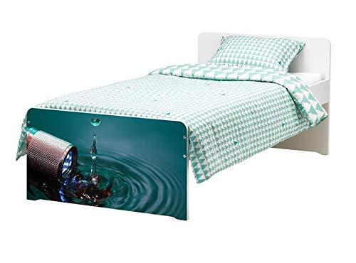 Möbelaufkleber für Ikea SLÄKT Bett Taschenlampe Wasser Kat19 Wassertropfen bed Aufkleber Möbelfolie Tür sticker Folie (Ohne Möbel) 25K748