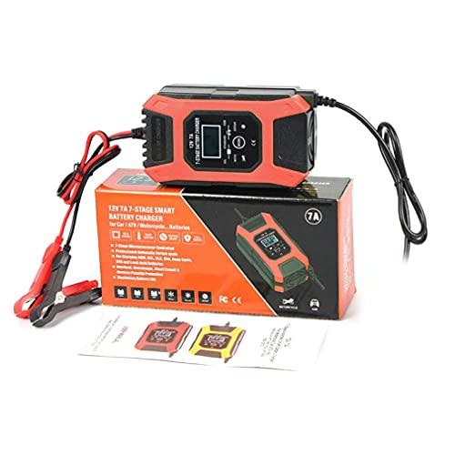 Hanone Cargador de batería rápido automático para Motocicleta portátil de 12V / 7A, Accesorios para automóvil, Naranja, UE