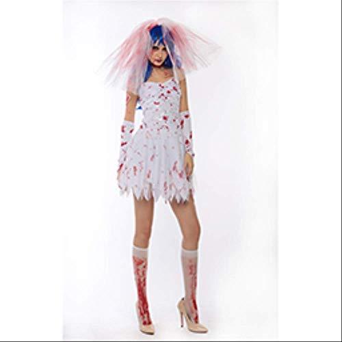 CHNWSJ Halloween Kostüme Geist Cosplay Vampir Cosplay Weibliche Modelle Kleid Weiße Hexe Gothic Horror-Kostüm Rock XS Weiß (Size : M)