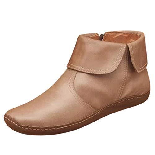 Posional Botas Retro Mujer Navidad Vintage Zapatos Planos de Cuero con Cremallera...