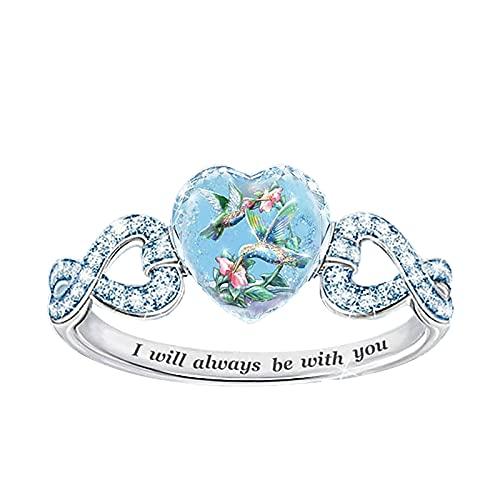 G/N Anillos de corazón para mujer niña, anillo de diamante azul, pendiente, collar de joyería de cruz infinito, corazón, anillo de promesa de moda Lucky Worry Band para regalo de boda 6-10 (anillo 6)