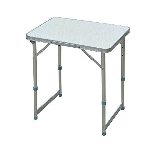 Outsunny Campingtisch Klapptisch Universaltisch Koffertisch Gartentisch Falttisch höhenverstellbar Alu + MDF Weiß 60 x 45 x 47,5/64 cm