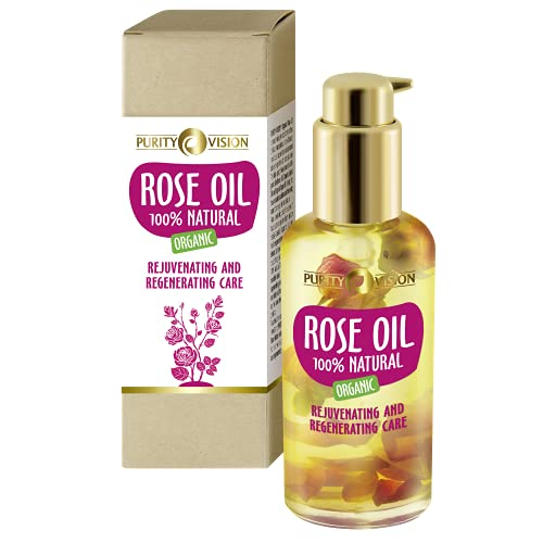 Purity Vision Organic Bio Rose Oil 100ml | Rosenöl Gesichtspflege | Körperöl für trockene Haut, kaltgepresst | Naturkosmetik Hautpflege