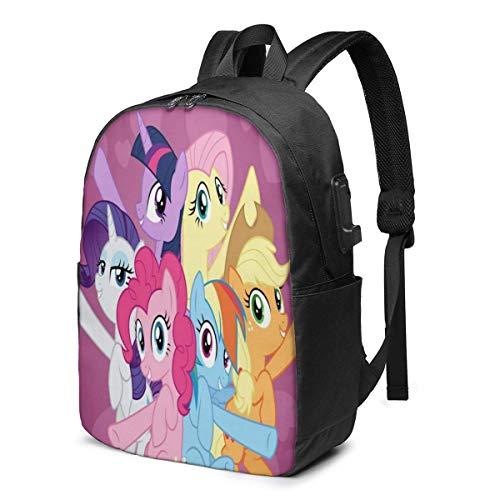 AOOEDM USB Backpack 17 in My Sweet Rainbow Pony - Mochila para computadora portátil de Dibujos Animados con Puerto de Carga USB/Mochilas Impermeables Informales con Estilo para la mayoría de comput