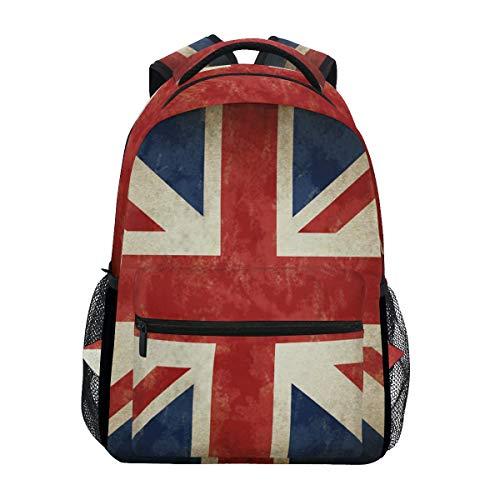 Linomo Jahrgang Vereinigtes Königreich Flagge Union Jack Englisch England Rucksack Daypacks Schultertasche Büchertasche Laptop Reisen Schulrucksack für Damen Herren Kinder Mädchen Jungen Teenager