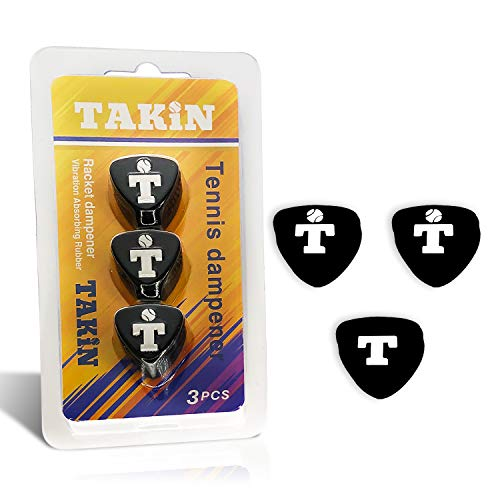 Takin Tennis Vibration Dampeners - Shock Absorbers for Racket and Strings - 3 Pack Silicone, Durable, and Long Lasting Dampener - Absorber Compatible W/Any Racquet (Black) Alaska
