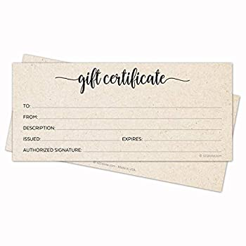 321Done Rustic Gift Certificates  Pack of 24 with Envelopes  4x9 Inches Blank Kraft Tan Minimalist for Small Business Holiday Christmas Voucher Spa Salon - Made in USA