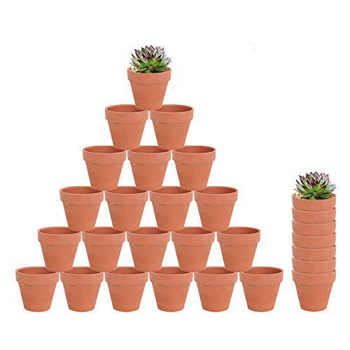 28pcs Small Mini Clay Pots, 2.16'' Terracotta Pot Clay Ceramic Pottery Planter, Cactus Flower Terra Cotta Pots, Succulent Nursery Pots, with Drainage Hole, for Indoor/Outdoor Plants, Crafts