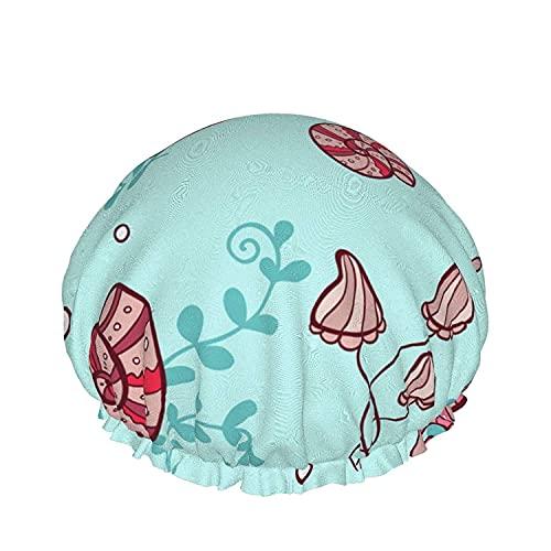 Capas dobles Gorro de Ducha,Marina Círculos de Color,con bandas elásticas Ajustables,Reutilizable de Baño Sombreros Para Mujer Impermeable Ajustable