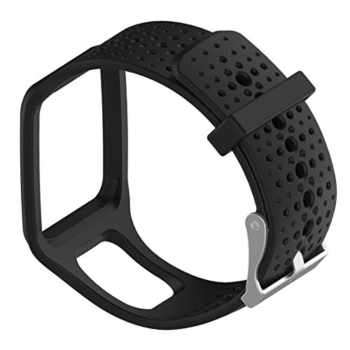 MOTONG Replacement Band For TomTom - MOTONG Silicone Repalcement Band For TomTom Multi-Sport GPS Watch,TomTom Multi-Sport + HRM,TomTom Multi-Sport Cardio Watch And More (Silicone Black)