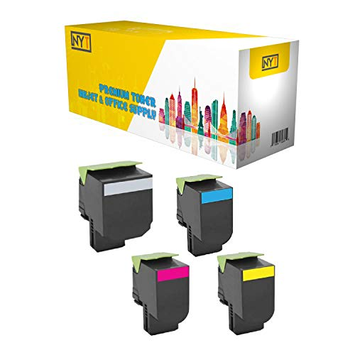 NYT Remanufactured Made in USA High Yield Toner Cartridge Replacement for 71B0H10 H20 H30 H40 71B1HK0 71B1HC0 71B1HM0 71B1HY0 for Lexmark CS417dn, CX417de (Black, Cyan, Magenta, Yellow, 4-Pack)