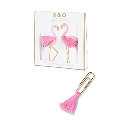 C.R. Gibson Pink Flamingo Tassel Paper Clips with Gift Box Office Supplies, 4'' W x 4.4'' H x .75'' D, 10 pc