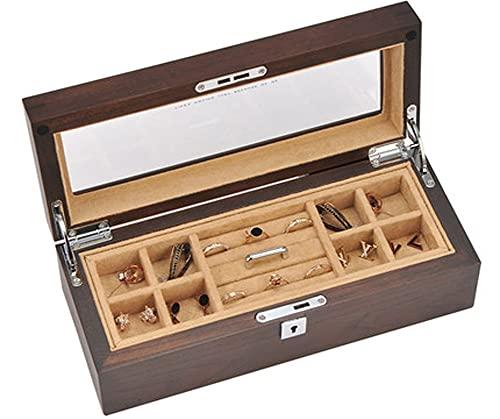 CHXISHOP Caja de joyería de doble capa Caja de almacenamiento de joyería de madera maciza retro china caja de colección de joyas con caja de bloqueo (marrón)