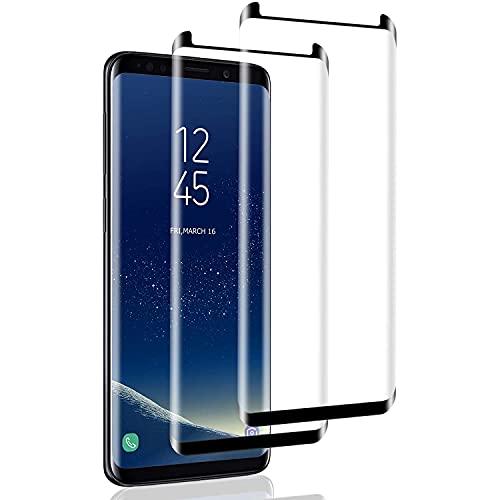 IceboyHH - Cristal templado para Samsung Galaxy S8, 2 piezas 3D, cobertura completa, dureza 9H, sin burbujas, protector de pantalla para Samsung Galaxy S8