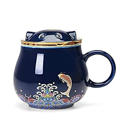 Creative ceramics Tea cups with Infuser and Lid – Office Mug, Teaware with Filter,Geometric Shape Tea Cup for Steeping apply to Adult /Office/Home/Gift (blue)