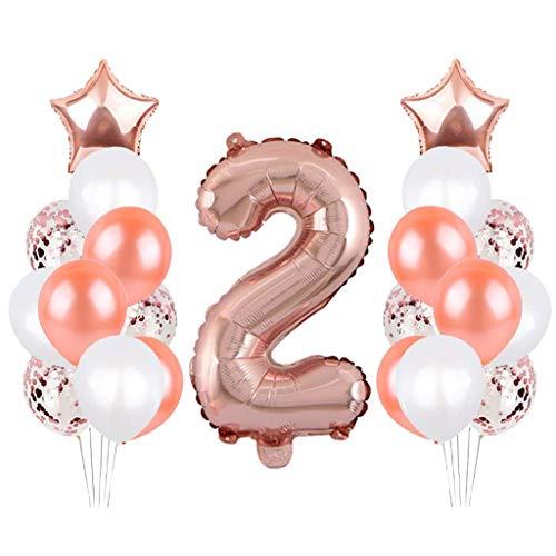 SNOWZAN Globo para 2º cumpleaños, color oro rosa, decoración de cumpleaños para niña, 2 años, globo gigante con número 2