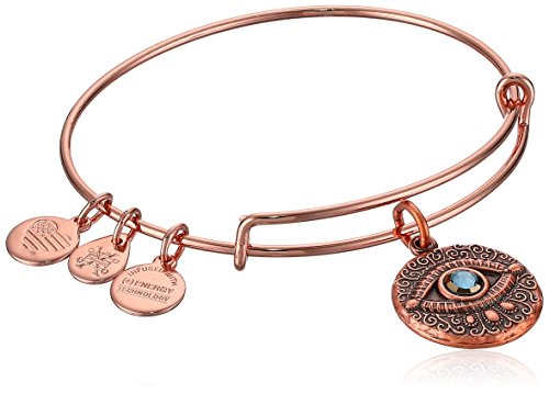 Alex and Ani Women's Evil Eye Rose Gold Charm Bangle Bracelet, Expandable