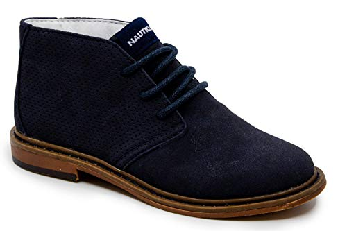 Nautica Kids Puget Youth Boys Lace Up Dress Chukka Boot-Puget Youth-Navy Side Perf-3