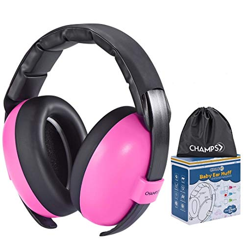 Baby Ear Muffs, Champs Baby Earmuff Noise Protection Reduction Headphones for 0-3 Years Babies, Toddler, Infant, Safety Hearing Ear Muff Shooting Range Hunting Season [Pink]