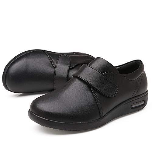 Nwarmsouth Arthritis Ödem Wide Fit Hausschuhe,Valgus Fußschuhe, verstellbare Diabetikerschuhe-44_schwarz,Hausschuhe für zu Reha