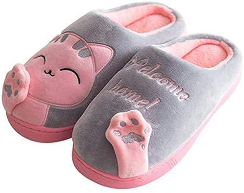 Minetom Herren Damen Winter Baumwolle Pantoffeln Soft Plüsch Wärme Weiche Hausschuhe Kuschelige Home rutschfeste Slippers Nette Bärnhandschuhe (EU 37-38, D- Grau)