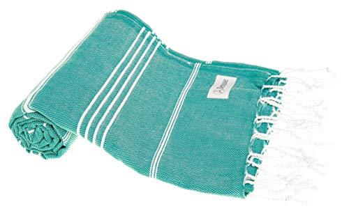 Bersuse 100% Coton - Anatolia Serviette Turque - Drap de Bain, Serviette de Plage - Fouta Peshtemal - Sarcelle