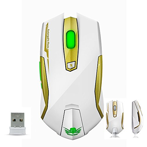 SROCKER X9 2.4GHz Wireless Rechargeable Professional Gaming Mouse/Mice Optical LED 4 Adjustable DPI Levels Silent Click with 6 Buttons, Nano Receiver and 2 Meters Long USB Charging Cable for Gamers