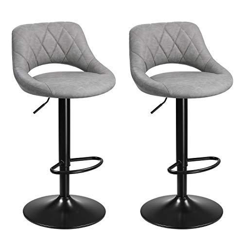 SONGMICS Barhocker, 2er Set Barstühle, Küchenstühle mit stabilem Metallgestell, Stühle mit Kunstlederbezug, Fußstütze, Sitzhöhe verstellbar, einfache Montage, Vintage, hellgrau LJB072G03
