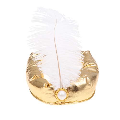 Amosfun Sombrero rabe de Halloween Pluma Sultan Prncipe Sombrero Sultan Disfraz Cosplay Diadema Dorada