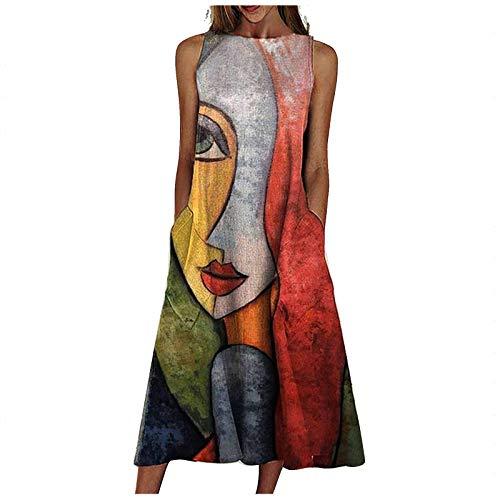 Yowablo Kleid Frauen Mode lose ärmellose Tasche langes Kleid O-Neck Print Retro-Kleid (XL,7rot)