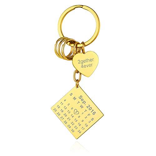 Custom4U Calendario Personalizado Llavero Acero Inoxidable Dorado con Tabla Cuadrada y Corazón Nombres Grabados Gratis Regalo Cumpleaños