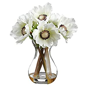 9″ Silk Amaryllis Flower Arrangement w/Glass Vase -White (Pack of 6)