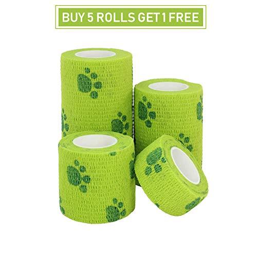 XXYQ compre 5 obtendrás 1 gratis – 1 vendaje autoadhesivo para deportes, vendaje de viet Wraps cinta finger juntas Kit médico Pet vendaje elástico, 1 rolls green paw, 15cmx4.5m