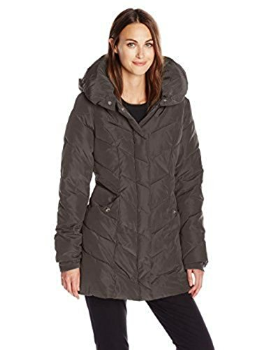 Steve Madden Women's Long Chervron Quilted Outerwear Jacket, Titanium, Large
