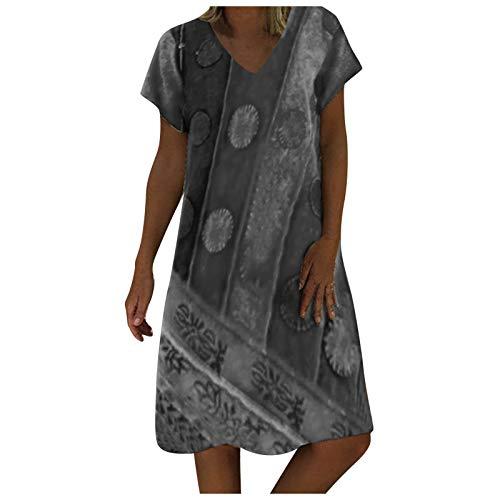 Pistaz - Vestido largo de manga corta para mujer, estilo casual, vestido de verano, camiseta informal