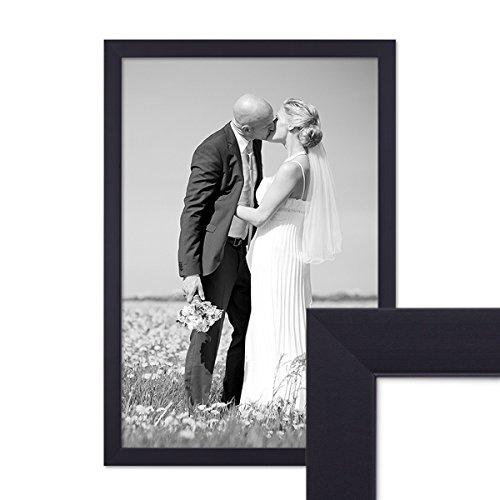 PHOTOLINI Bilderrahmen 30x42 cm/DIN A3 Schwarz Modern aus MDF mit Glasscheibe und Zubehör/Fotorahmen