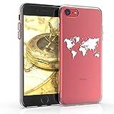 kwmobile Funda Compatible con Apple iPhone 7/8 / SE (2020) - Carcasa de TPU y Mapa del Mundo en Blanco/Transparente