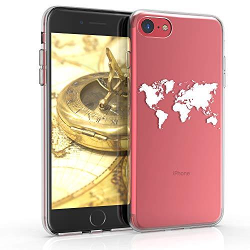 kwmobile Cover Compatibile con Apple iPhone 7/8 / SE (2020) - Custodia in Silicone TPU - Backcover Protettiva Cellulare Contorni Bianco/Trasparente