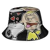 Bucket Hat Snoopy y Charlie Brown Bucket Sun Hat para Hombres Mujeres -Protección Gorra de Pescador de Verano Empacable para Pesca, Safari, Paseos en Bote en la playa-00X