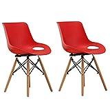 ZYXF Pack de 2 Comedor Silla, Haya piernas y Polipropileno Respaldo Creativo Diseño Retro Espesar plastico for Salón/terraza/Cocina Oficina (Color : Red)