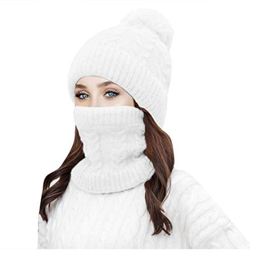 HJFR 2021 Nouveau Mode Adulte Bonnet tricoté Plus Cachemire,Capuchon de Protection des Oreilles Chaudes,Doux Chapeaux,Béret Automne et Hiver,Extérieur Bonnet en Laine,Casquette,Bonnets de Ski