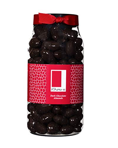 Photo of Rita Farhi Dark Chocolate Covered Almonds in a Gift Jar | Vegetarian and Chocolate Gift – Assorted Chocolate Coated Nuts – 770 g