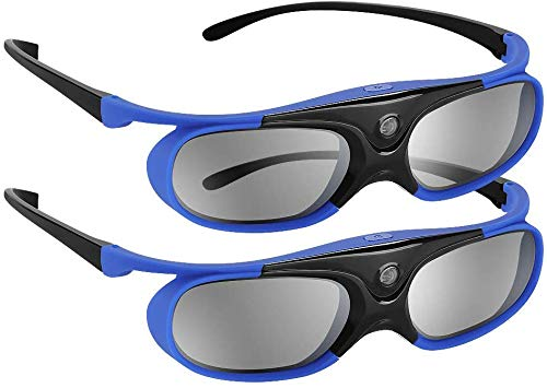 DLP Link 3D Glasses 144Hz Rechargeable 3D Active Shutter Glasses for All DLP-Link 3D Projectors, Can't Used for TVs, Compatible with BenQ, Optoma, Dell, Acer, Viewsonic DLP Projector (Blue- 2 Pack)