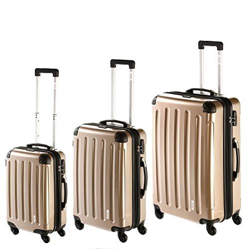 INVIDA Koffer-Set 3 TLG. Hartschale 4 Rollen Reisekoffer Trolley-Set stapelbar 3 Größen BS/L/XL Polycarbonat